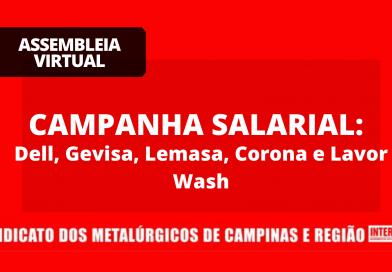 RESULTADO ASSEMBLEIA VIRTUAL – GEVISA, DELL, LEMASA, LAVORWASH E CORONA: campanha salarial