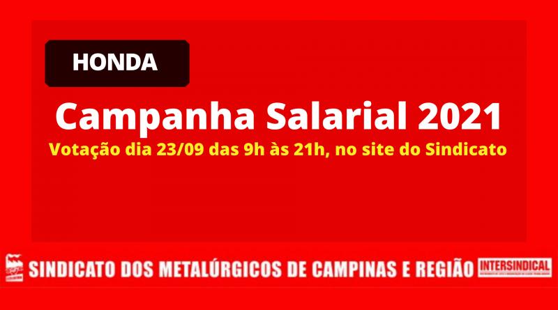 RESULTADO: Assembleia Virtual Honda – Campanha Salarial 2021