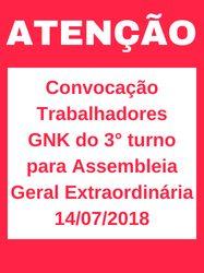 CONVOCAÇÃO AOS TRABALHADORES DA GKN DO 3° TURNO