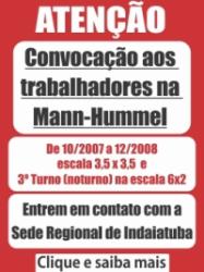 Convocação trabalhadores na Mann-Hummel